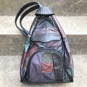 Vintage Faux Leather Patchwork Triangle Backpack
